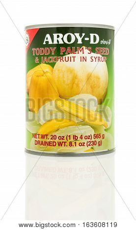 Winneconne WI - 2 November 2016: Can of Aroy-D toddy palm's seed & jackfruit in syrup on an isolated background.