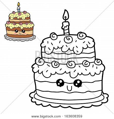 Vector illustration coloring page of happy cartoon birthday cake for children, coloring and scrap book