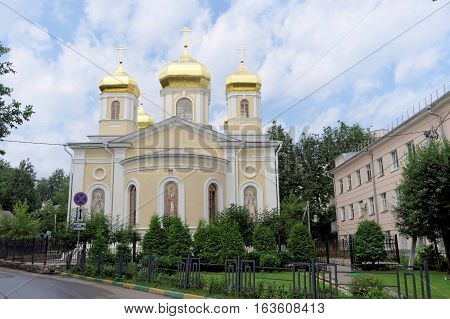 Nizhny Novgorod, Russia. - July 14.2016. Church Holy Hierarchs of the Moscow Nizhny Novgorod metochion Holy Trinity Seraphim-Diveevo convent in the street Korolenko 14