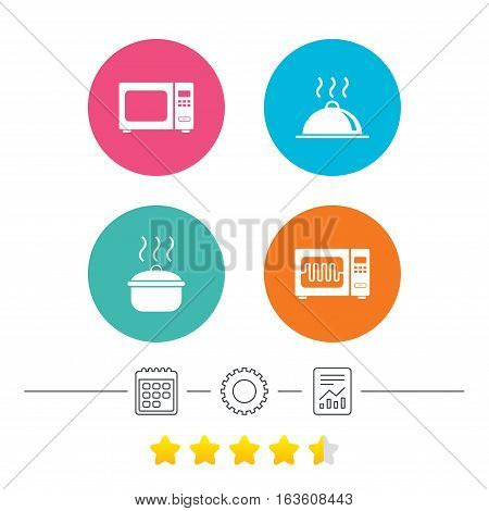 Microwave grill oven icons. Cooking pan signs. Food platter serving symbol. Calendar, cogwheel and report linear icons. Star vote ranking. Vector