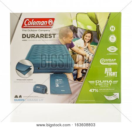 Winneconne WI - 1 January 2017: Package that contains a Coleman durarest air mattress on an isolated background.