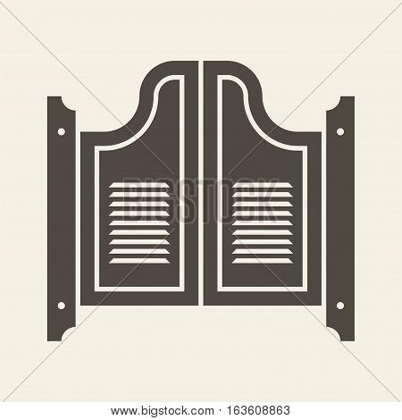 Retro saloon door. Vector icon isolated on beige background.