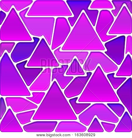 abstract vector stained-glass mosaic background - magenta triangles
