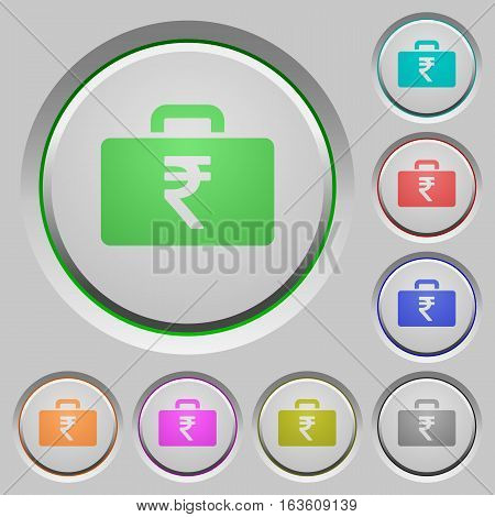 Indian Rupee bag color icons on sunk push buttons