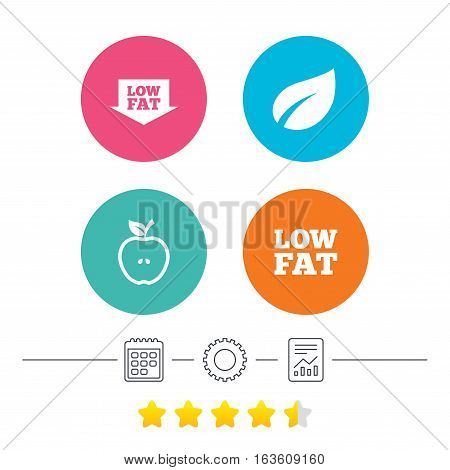 Low fat arrow icons. Diets and vegetarian food signs. Apple with leaf symbol. Calendar, cogwheel and report linear icons. Star vote ranking. Vector