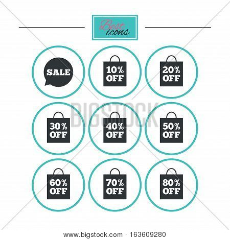 Sale discounts icons. Special offer signs. Shopping bag, price tag symbols. Round flat buttons with icons. Vector