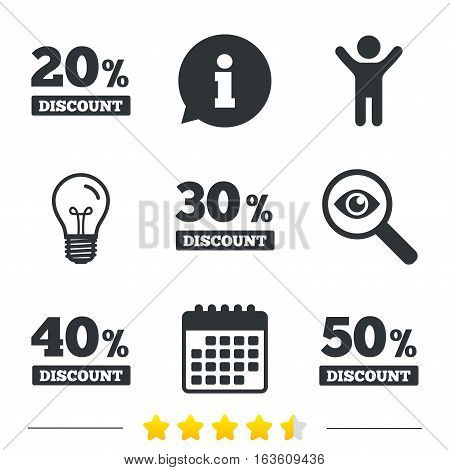 Sale discount icons. Special offer price signs. 20, 30, 40 and 50 percent off reduction symbols. Information, light bulb and calendar icons. Investigate magnifier. Vector