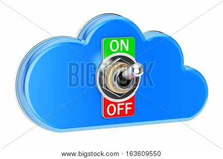 Computing Cloud with switch on-off 3D rendering isolated on white background