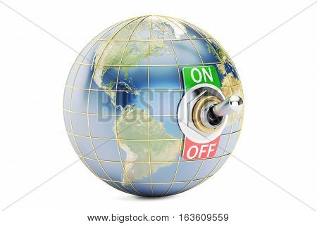 Globe with switch on off. 3D rendering isolated on white background