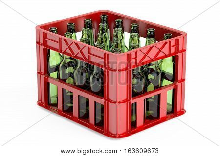 plastic storage box crate with empty bottles. 3D rendering isolated on white background