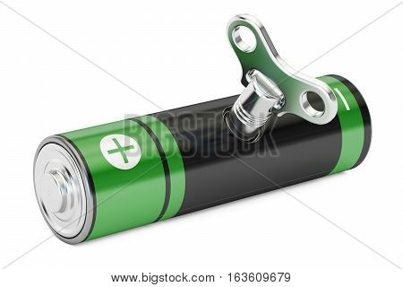 Rechargeable AA with wind-up key accumulator concept. 3D rendering isolated on white background