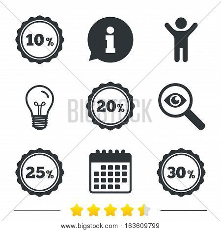Sale discount icons. Special offer stamp price signs. 10, 20, 25 and 30 percent off reduction symbols. Information, light bulb and calendar icons. Investigate magnifier. Vector