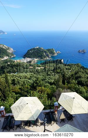 The view from restaurant on a bay in a heart shape and beach Corfu Greece