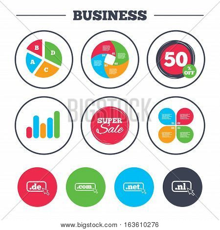 Business pie chart. Growth graph. Top-level internet domain icons. De, Com, Net and Nl symbols with cursor pointer. Unique national DNS names. Super sale and discount buttons. Vector