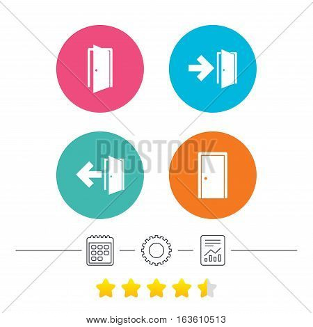 Doors icons. Emergency exit with arrow symbols. Fire exit signs. Calendar, cogwheel and report linear icons. Star vote ranking. Vector