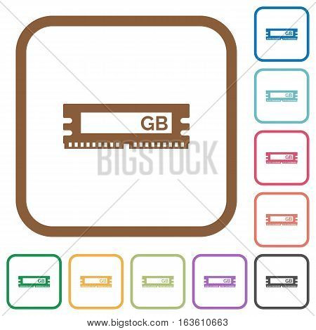 RAM module simple icons in color rounded square frames on white background