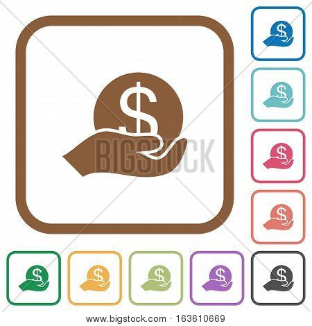 Save money simple icons in color rounded square frames on white background