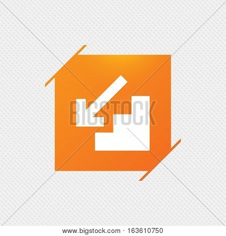 Downstairs icon. Down arrow sign. Orange square label on pattern. Vector