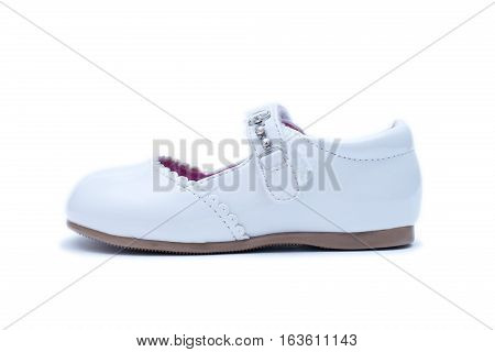White Female Shoes. Kids Footwear Isolated On White Background.