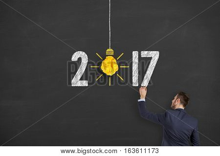 New Year 2017 Idea Concepts Light Bulb Crumpled Paper