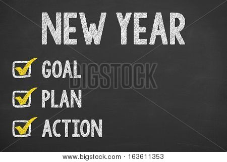 Human Hand Writing New Year Goals on Blackboard Background