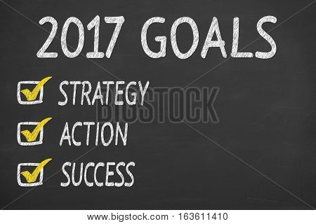 New Year 2017 Goals Concepts on Chalkboard Background
