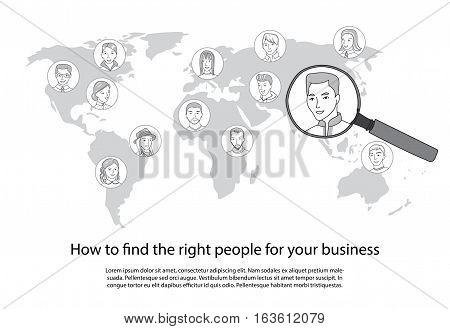People search, talent selection, Business recruitment, hiring all around the world concept, Many people faces on world map and one selected with magnifying glass, thin line style vector