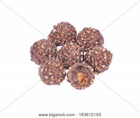 Luxury round chocolate pralines isolated on white background