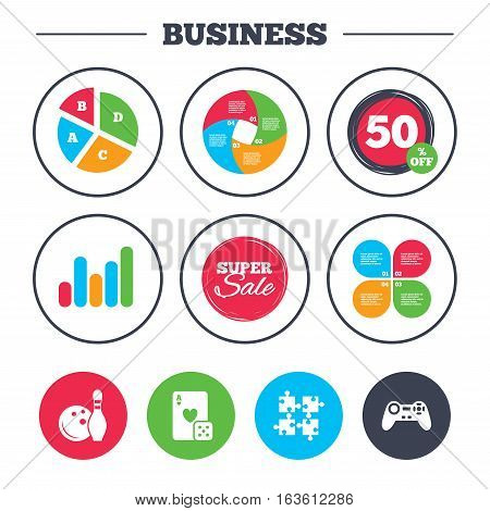 Business pie chart. Growth graph. Bowling and Casino icons. Video game joystick and playing card with puzzles pieces symbols. Entertainment signs. Super sale and discount buttons. Vector