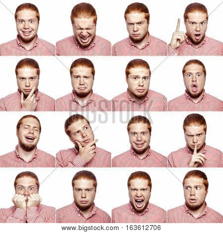 Mosaic of businessman expressing different emotions. The bearded businessman with red white shirt with 16 different emotions. isolated on white. studio shot.