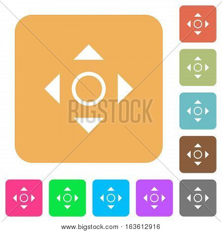 Scroll icons on rounded square vivid color backgrounds.