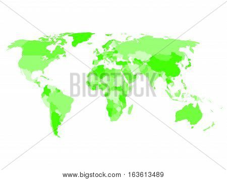 World map with names of sovereign countries and larger dependent territories. Simplified vector map in four shades of green on white background.
