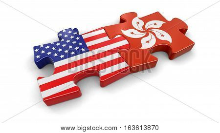 3D Illustration. USA and Hong Kong puzzle from flags. Image with clipping path