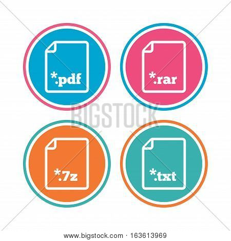 Download document icons. File extensions symbols. PDF, RAR, 7z and TXT signs. Colored circle buttons. Vector