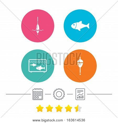 Fishing icons. Fish with fishermen hook sign. Float bobber symbol. Aquarium icon. Calendar, cogwheel and report linear icons. Star vote ranking. Vector