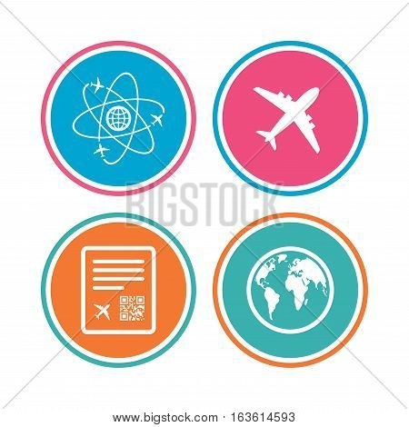Airplane icons. World globe symbol. Boarding pass flight sign. Airport ticket with QR code. Colored circle buttons. Vector