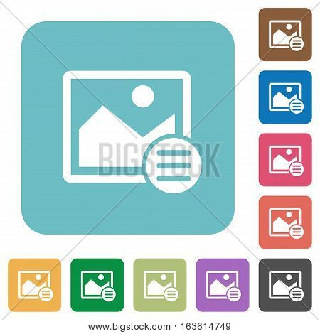 Image options white flat icons on color rounded square backgrounds