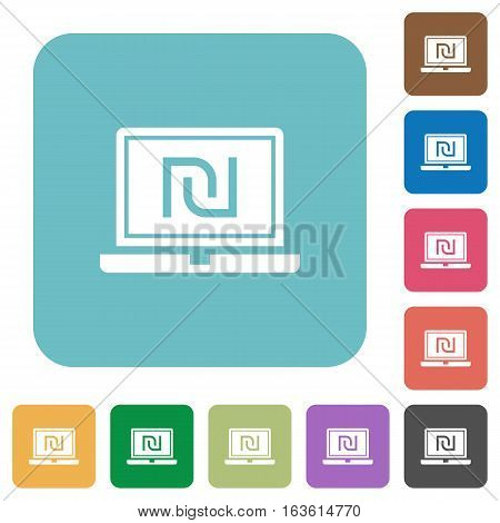 Laptop with new Shekel sign white flat icons on color rounded square backgrounds