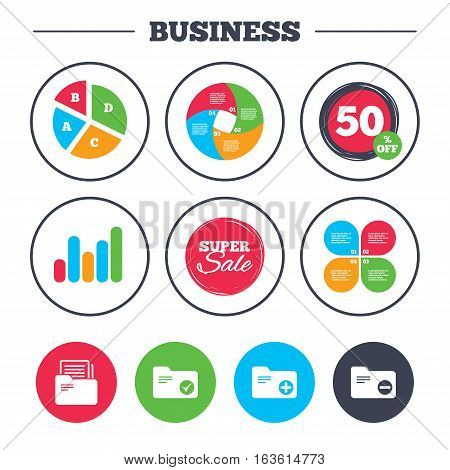Business pie chart. Growth graph. Accounting binders icons. Add or remove document folder symbol. Bookkeeping management with checkbox. Super sale and discount buttons. Vector