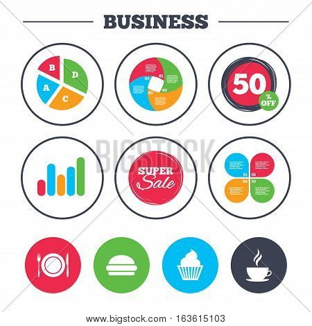 Business pie chart. Growth graph. Food and drink icons. Muffin cupcake symbol. Plate dish with fork and knife sign. Hot coffee cup and hamburger. Super sale and discount buttons. Vector