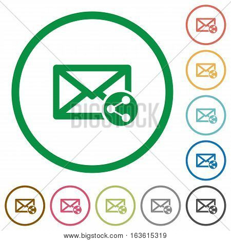 Share mail flat color icons in round outlines on white background