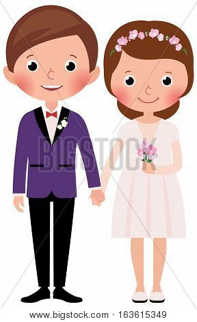 Happy just married bride and groom in full growth on a white background Stock cartoon vector illustration