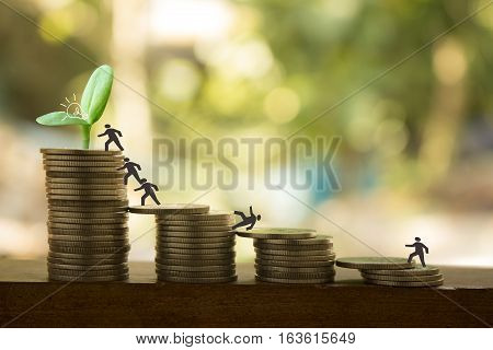 stack of coins with join or connectconcept idea for business teamwork
