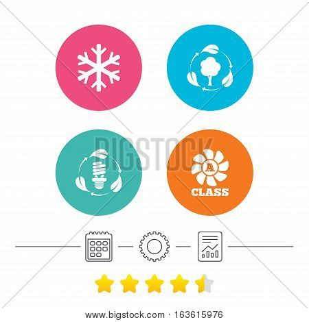 Fresh air icon. Forest tree with leaves sign. Fluorescent energy lamp bulb symbol. A-class ventilation. Air conditioning symbol. Calendar, cogwheel and report linear icons. Star vote ranking. Vector