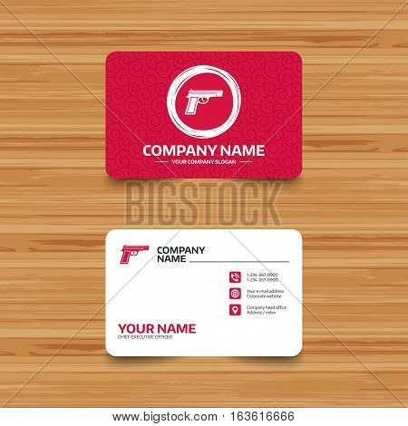 Business card template with texture. Gun sign icon. Firearms weapon symbol. Phone, web and location icons. Visiting card  Vector