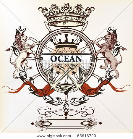 Heraldic nautical logotype or label with anchor lions and crown. Ideal for T-shirt designs or badges