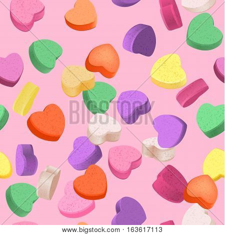 Seamless pattern for Valentine's Day with colorful conversation hearts candy on a pink background. Background in pastel colors.
