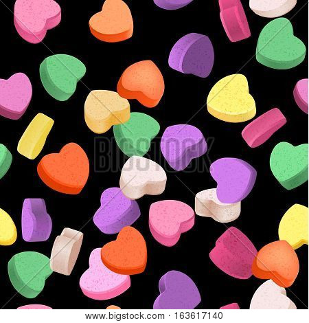 Seamless pattern for Valentine's Day with colorful conversation hearts candy on a dark background. Background in pastel colors.