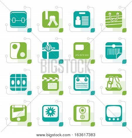 Stylized Business and Internet Icons - Vector Icon Set