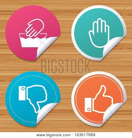 Round stickers or website banners. Hand icons. Like and dislike thumb up symbols. Not machine washable sign. Stop no entry. Circle badges with bended corner. Vector